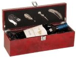Burl Wood Finish Single Wine Bottle Presentation Box with Tools Gift Awards