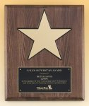 Walnut Stained Piano Finish Plaque with 8 Gold Star Religious Awards